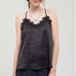 Satin Lace Tank Top/Camisole- Black